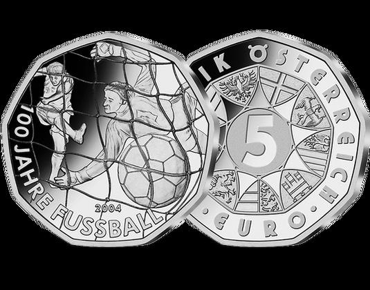 5 Euro Silbermünze 2004 100 Jahre Fußball Hgh 5 Euro Silber