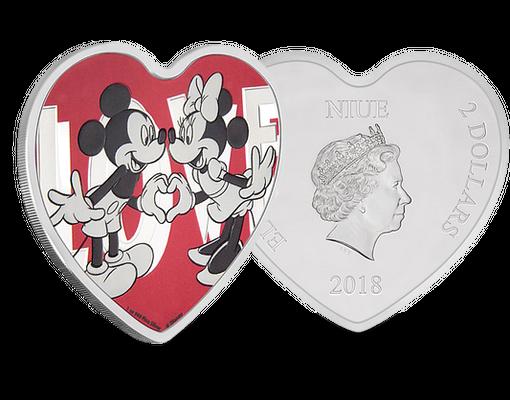 Niue 2018 Silber Gedenkmünze In Herzform Disney Love Mdm