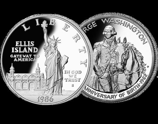 Offiziellen Silber Gedenkmünzen Freiheitsstatue Und George Washington