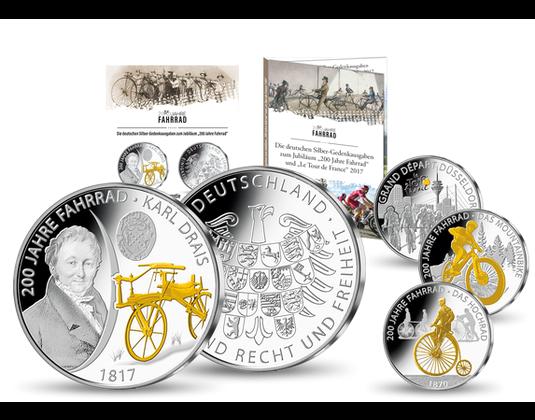 Silber Gedenkprägung Karl Drais 200 Jahre Fahrrad Mdm Deutsche Münze