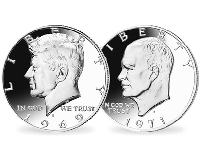 2er-Set USA 1/2 Dollar 1969 Kennedy und 1 Dollar 1971 Eisenhower PP