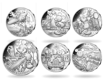 Set complet 10 x 10 Euros argent «Mickey et la France» 2018 vague 2