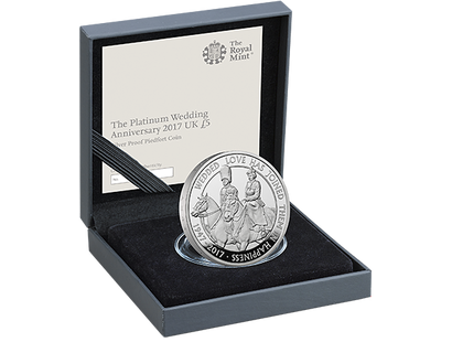 The Platinum Wedding Anniversary 2017 £5 Silver Proof Piedfort Coin