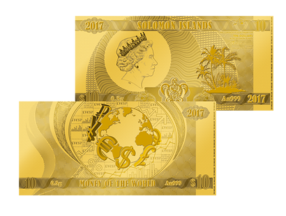 "Weltneuheit: Die erste Münznote ""Money of the World"" in reinstem Gold!"