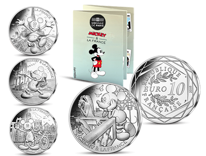 La collection des 10 Euros officielles argent «Mickey & la France» 2018