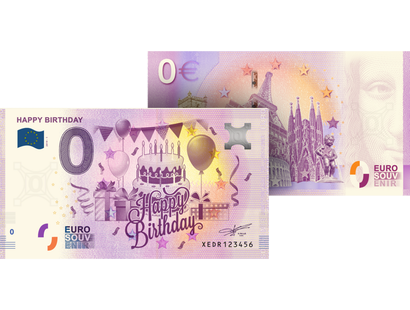 "Le billet 0 € Souvenir  ""Happy Birthday"""