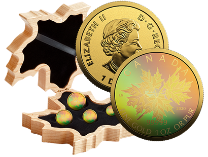 Komplett-Satz ''Gold Maple Leaf'' 2020 mit innovativem Hologramm-Motiv