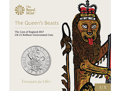 The Lion of England 2017 £5 Brilliant Uncirculated Coin