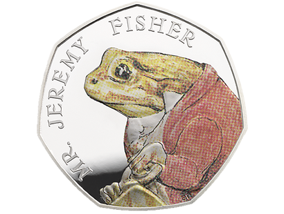 Celebrating Beatrix Potter & Her Little Tales Mr. Jeremy Fisher Silver Proof 50p Coin