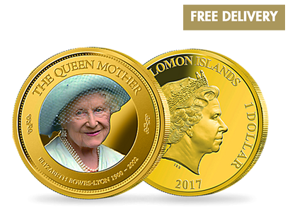 Elizabeth Bowes-Lyon 1900-2002 - Queen Mother Gold Plated Coin