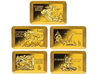 St George and the Dragon - Limited Anniversary Artist Gold Edition Gold 5 Coin Set