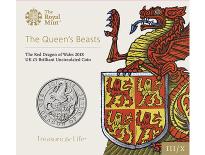 The Red Dragon of Wales 2018 £5 Brilliant Uncirculated Coin