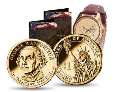 Präsidenten-Dollar ''George Washington'' mit glanzvoller Gold-Veredelung