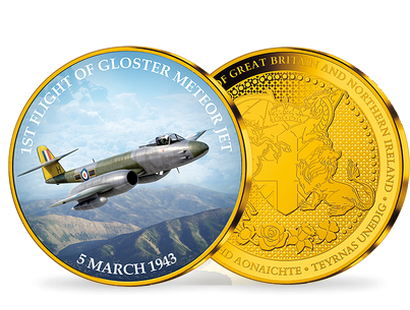 First Flight of the Gloster Meteor Gold Plated Commemorative