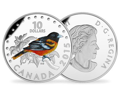 1/2 oz. Fine Silver Coloured silver coin - Colourful Songbirds of Canada (2015) - The Baltimore Oriole