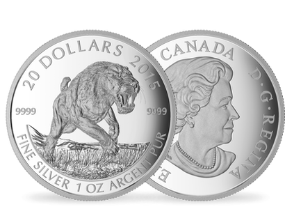 One-Ounce Fine Silver Coin - Prehistoric Animals: American Scimitar Sabre-Tooth Cat