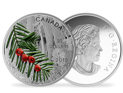 One-Ounce Fine Silver Coin - Forests of Canada series - Columbian Yew Tree