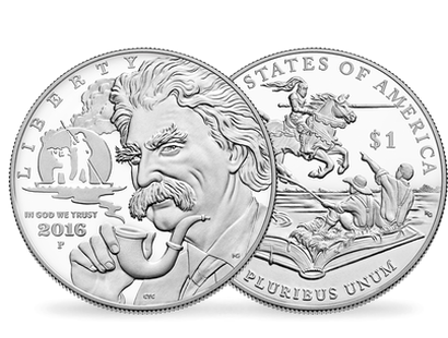 Mark Twain 2016 Commemorative $1 Silver Coin