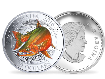 Canadian Salmonids - Arctic Char $20 Fine Silver Coin