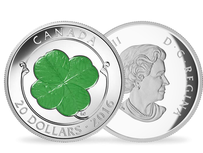 Lucky 4-Leaf Clover 2016 $20 Fine Silver Coin with Green Enamel