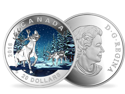 """Geometry in Art: The Caribou"" $20 fine silver coin"