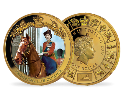 Queen Elizabeth - Trooping the Colour Gold Plated Coin
