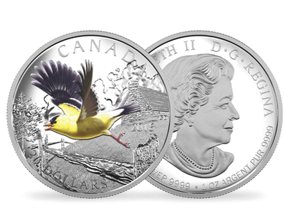 Colourful Birds of Canada - American Goldfinch 1 oz. Pure Silver Coloured Coin