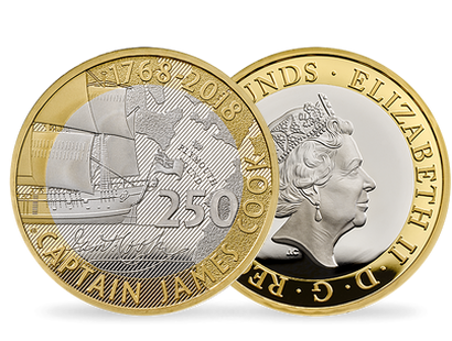 250th Anniversary of Captain James Cook's Voyage of Discovery Silver Proof £2 Coin