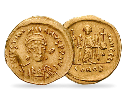 Monnaie authentique byzantine en or pur : «Solidus Justinien 1er»