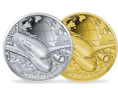 Aviation and History -  Airbus A380 2017 Gold & Silver Proof Coins