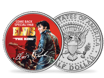 La monnaie Half Dollar colorisée « The King Elvis Presley»