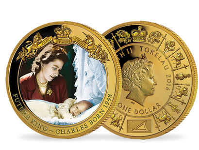 The Birth of Prince Charles Gold Plated Coin