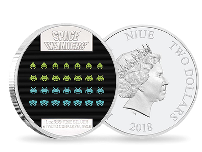 Monnaie de 2 Dollar en argent pur «Space Invaders» Niue 2018