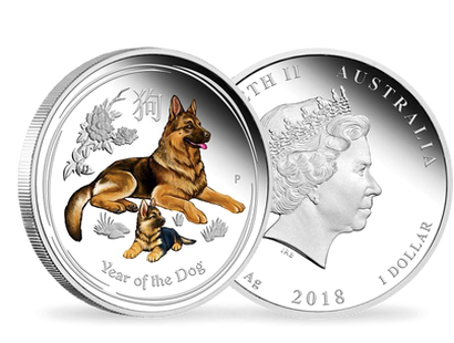 Australian Lunar Series II - Year of the Dog 2018 1oz Silver Proof Coloured Edition $1 Coin