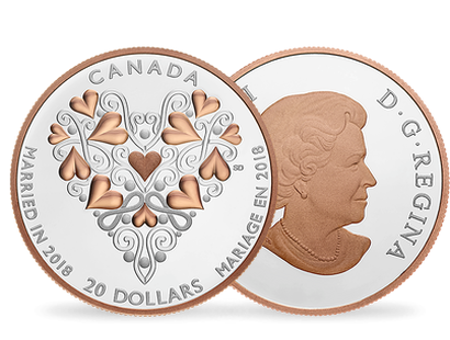 Best Wishes On Your Wedding Day! $20 Fine Silver Coin