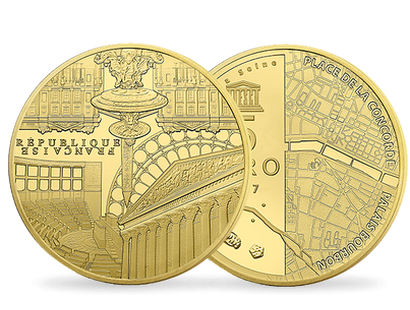 Concorde & Assemblée nationale - Banks of the Seine 2017 €5 0.5g Gold Proof Coin