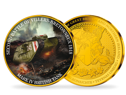 Combat Tanks - 1918 Mark IV British Tank Gold-Plated Commemorative