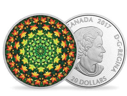 1 oz. Pure Silver Coloured Coin – Canadiana Kaleidoscope: The Maple Leaf