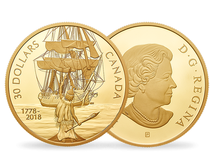 Captain Cook and the HMS Resolution 2018  2oz Pure Silver Gold-Plated Coin