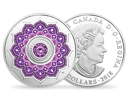 Birthstones - February 2018 $5 Silver Proof Coin with Swarovski® Crystal