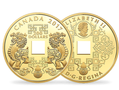 Feng Shui Good Luck Charms 2017 Pure Gold $200 Coin
