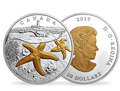 From Sea to Sea to Sea: Atlantic Starfish 2017 $20 Fine Silver Coin