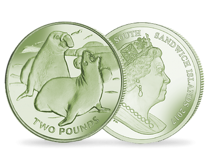 Elephant Seal 2017 £2 Green Titanium Coin