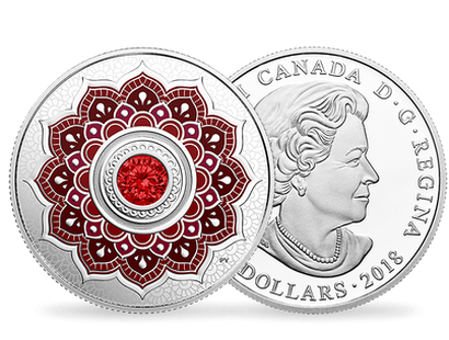 Birthstones - July 2018 $5 Silver Proof Coin with Swarovski® Crystal