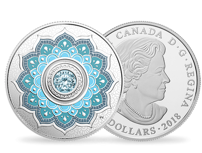 Birthstones - March 2018 $5 Silver Proof Coin with Swarovski® Crystal