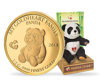 My Goldheart Family - Panda Pian 2018 0.5g Pure Gold Coin
