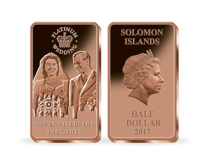 The Queen's Platinum Wedding Anniversary 2017 Half Dollar Coin Bar