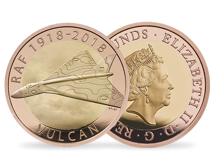 RAF Vulcan 2018 £2 Gold Proof Coin