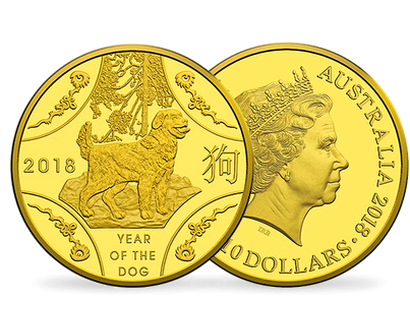Lunar Series -  Year of the Dog 2018 $10 1/10 oz Gold Proof Coin