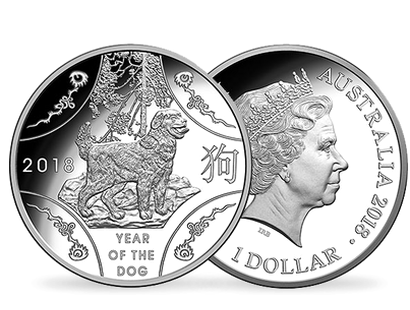 Lunar Series -  Year of the Dog 2018 1oz $1 Fine Silver Proof Coin